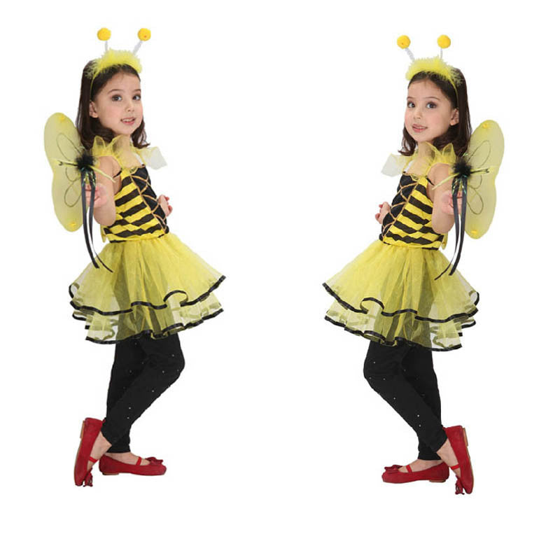 Girls Kids Children Honey Bee Cosplay Halloween Costume Christmas Masquerade Gift