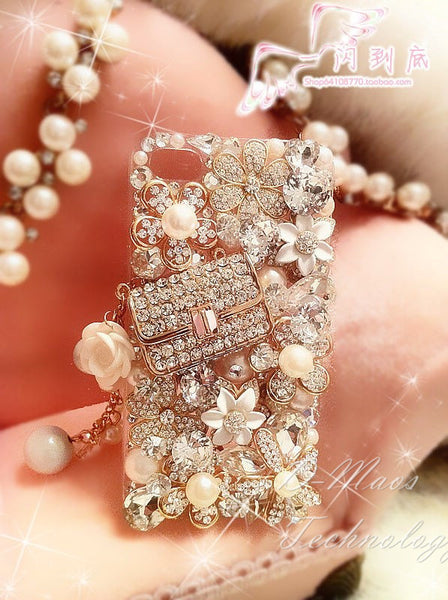 Diamond Pearl Luxury Lady Fashion Handbag Cute Cover Lady Girl Gift for iPhone 7 7 Plus Case