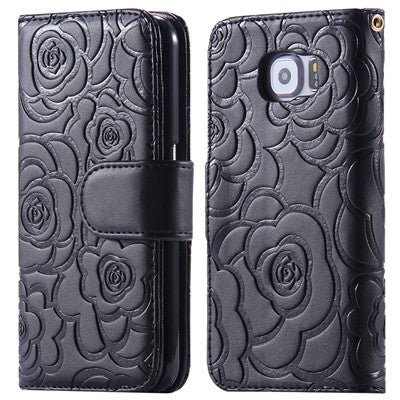 3D Flower Phone Case Fashion Card Slots Camellia Flip Leather Cover For iPhone 7 7 Plus