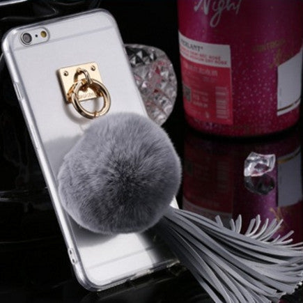 Rabbit Fur Ball Tassels Metal Ring Case Soft TPU + Hard PC Girly Coque Cover for iPhone 7 7 Plus