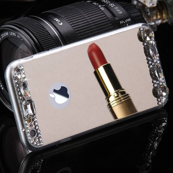 Luxury Diamond Glitter Mirror Case For Apple iPhone 7 7 Plus Dual Layer Bling TPU Slim Clear Cover