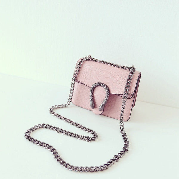pring Snake Leather Embossed Fashion Women Bag Chain Crossbody Bag Brand Designer Messenger Bag