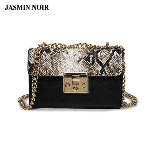Spring And Summer Women Messenger Chain Crossbody Bag Snake Leather Brand Designer Bags Ladies
