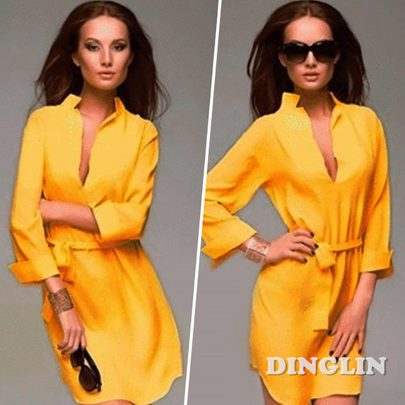 Women Long Sleeve Office Bandage Tunic Cocktail Party Chiffon Sexy Mini Shirt Dress Yellow