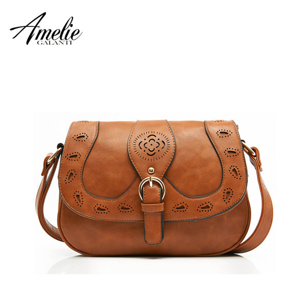 Crossbody Bag Hollow Out Casual Fashion Solid Pu Shoulder Bags Ladies Round Saddle