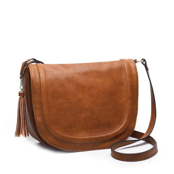 Casual Crossbody Soft Cover Solid Saddle Tassel Messenger High Quality Shoulder Bag