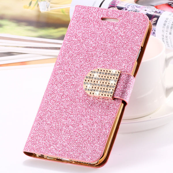 Glitter Bling Crystal Diamond Leather Wallet Case For iPhone 7 7 Plus
