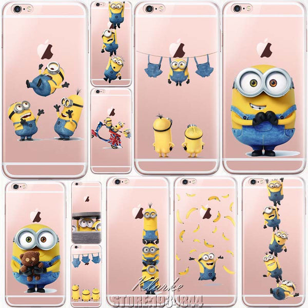 Cute Despicable Me Yellow Minion Design Cover Sofe Minions Case For iPhone 7 7 Plus Transparent