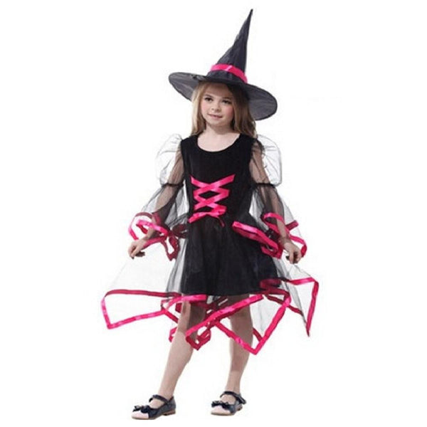 Girl Children Witch Princess Tutu Halloween Cosplay Costume