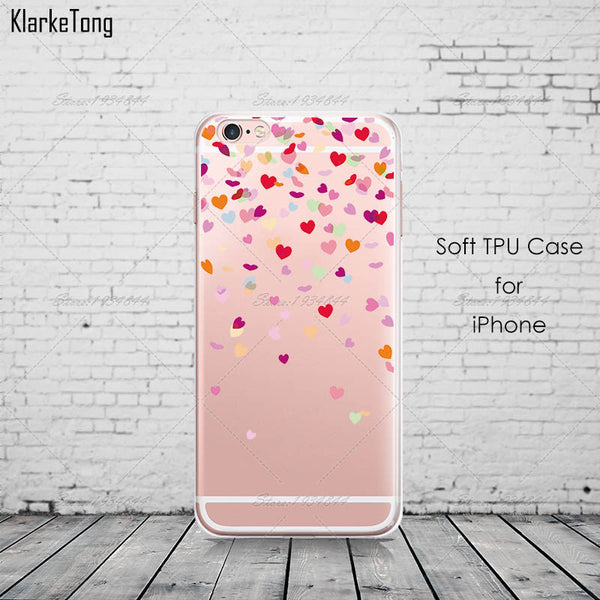 Butterfly Love Hearts Pattern Transparent TPU Phone Case Cover For iPhone 7 7 Plus Girly Silicone