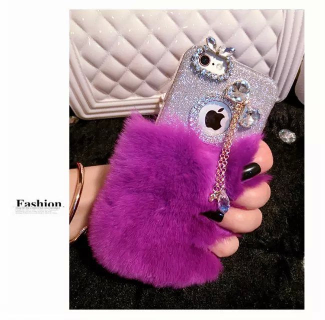 Luxury Rabbit Fur Case for iPhone 7 7 Plus Bling Glitter Soft TPU Case