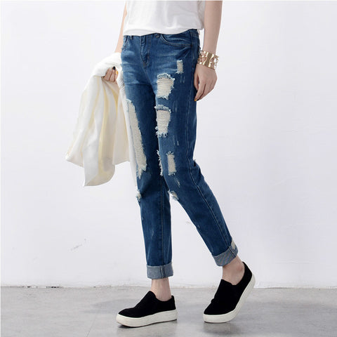 Women's Ripped Jeans Fashion Boyfriend Jeans For Woman Loose Hole Denim Pants
