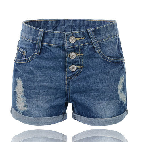 Plus Size Large Size Denim Shorts Women Holes Buttons Fly Roll Up Hem Jeans