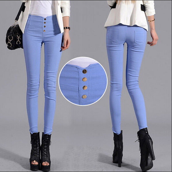 Spring and Summer Ladies Cotton Plus Size Women Pants High Waist Elastic Trousers Pencil Pants
