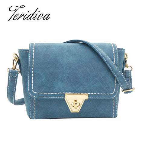 Crossbody Shoulder Bag Blue Nubuck Leather Trapeze Handbag Vintage Small Messenger Bags