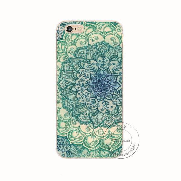 Shell For Apple iPhone 7 7 Plus Back Case Cover Printing Mandala Flower Datura Floral