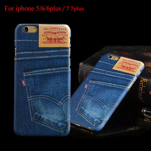 Business Blue Jean Case For iPhone 7 7 Plus Denim Design Printed Hard PC Back Cover