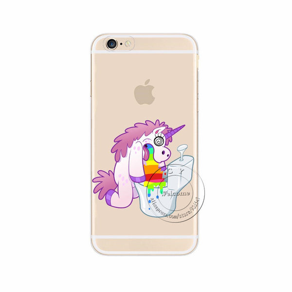 Apple iPhone 7 7 Plus Cute Hippo Rainbow Unicorn Horse Clear Plastic Case Back Cover