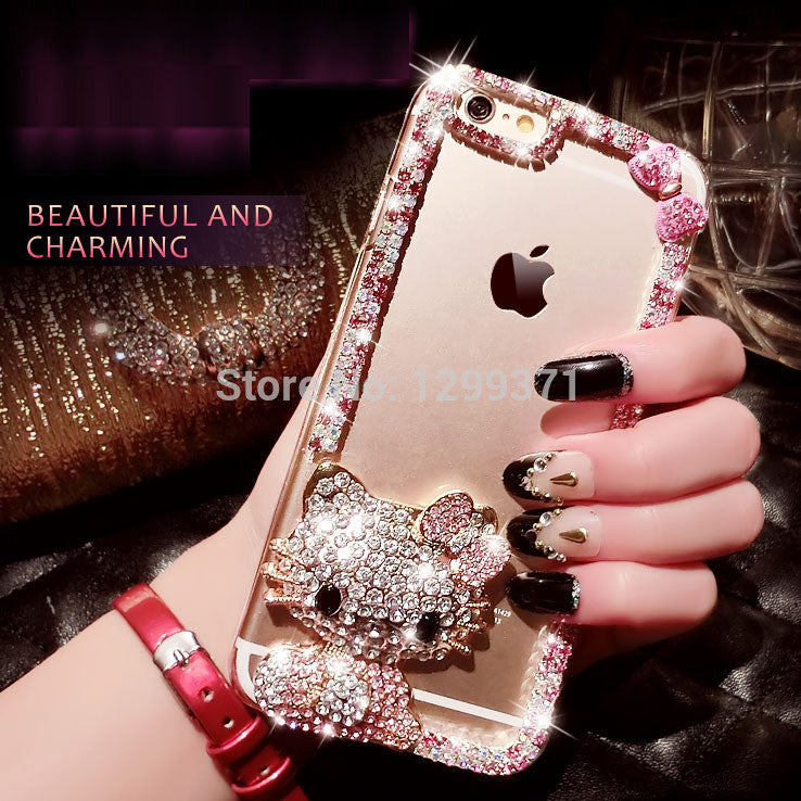 Bling Bowknot Cute Kt Cat Diamond Case Cover iPhone 7 7 Plus
