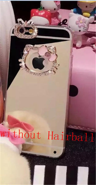 Hello Kitty Mirror Case Luxury Bling Diamond Soft TPU Mirror for iPhone 7 7 Plus