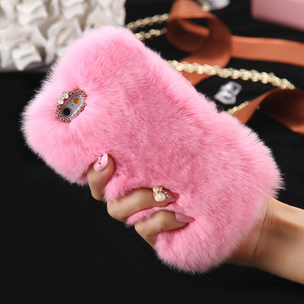 Genuine Rabbit Fur Case For iPhone 7 7 Plus Fluffy Diamond Bling Back Cover Fashion Women