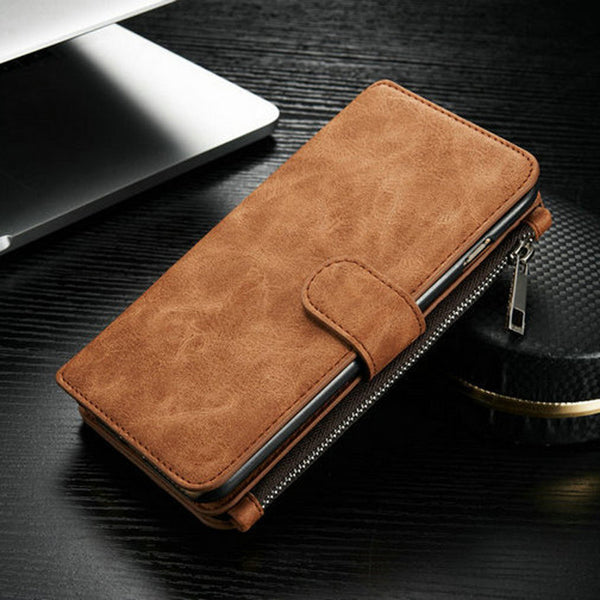 Luxury Genuine Leather Phone Case For iPhone 7 7 Plus With Zipper Wallet Card Multifunction