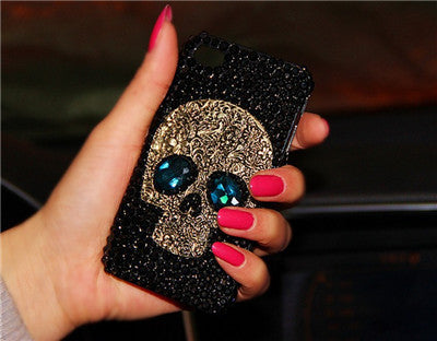 Cool 3D Skull Skeleton Blue Red Eyes Bling Capa Cases for iPhone 7 7 Plus Luxury Rhinestone Case