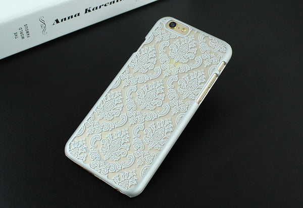 Luxury Hard Plastic Case For iPhone 7 7 Plus Damask Vintage Flower Pattern Cover Case