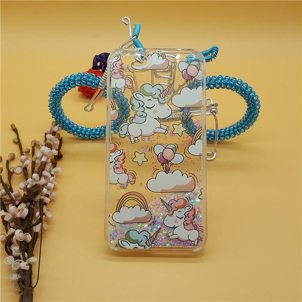 Cartoon Unicorn Horse Cat Cover Dynamic Water Liquid Transparent Plastic Case for iPhone 7 7 Plus