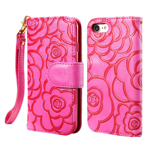 Luxury 3D Flower Pattern Leather Case For iPhone 7 7 Plus Stand Holder Flip Wallet Cover