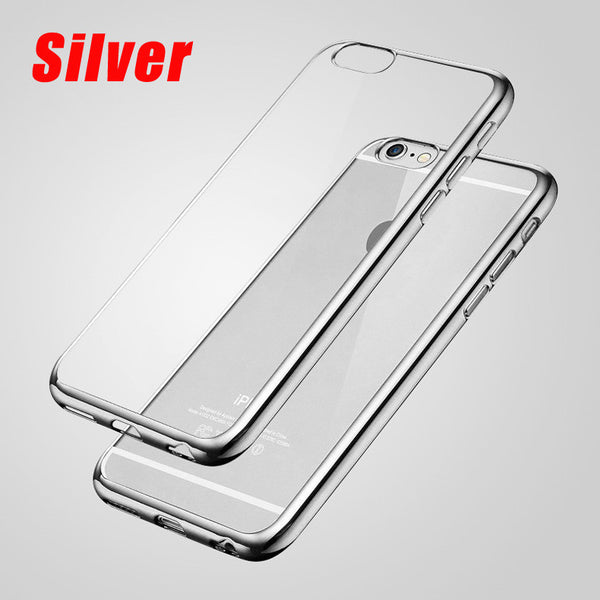 iPhone 7 7 Plus Luxury Ultra Thin Clear Crystal Rubber Plating Electroplating TPU Phone Back Case