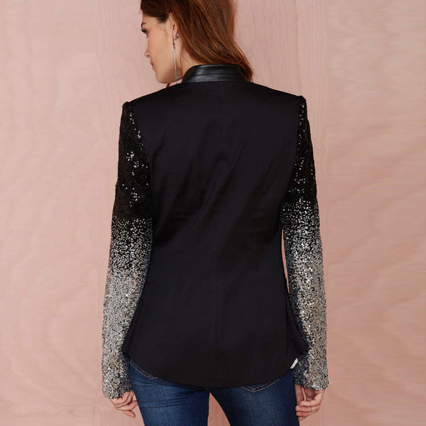 Slim Women Pu Patchwork Black Silver Sequins Jackets Full Sleeve Fashion Winter Coat