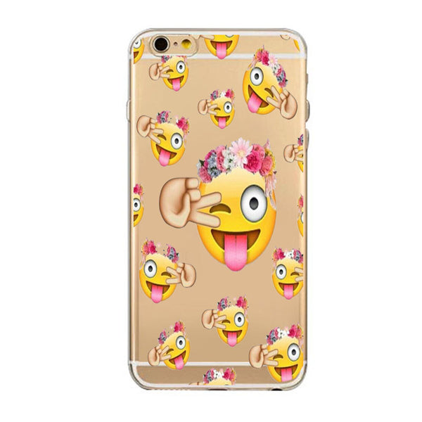 Slim Soft TPU Gel Transparent Crystal Back Cover With Starbuck Cute Expression iPhone 7 7 Plus