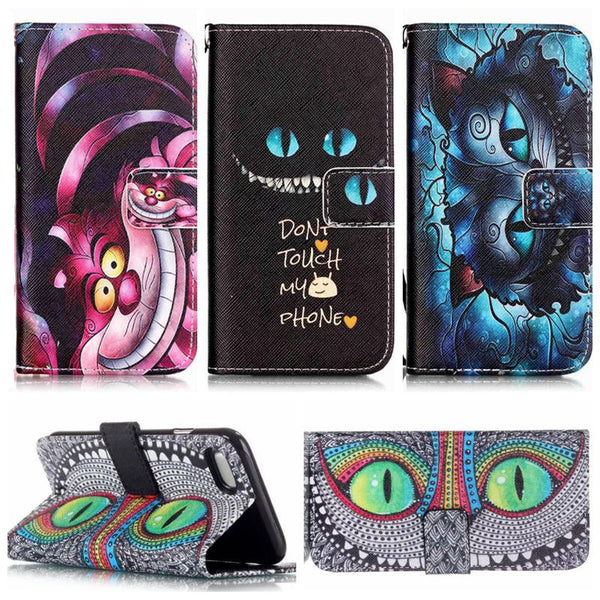 Alice in Wonderland Cheshire Cat PU Leather Case For iPhone 7 7 Plus