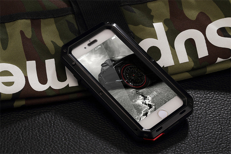 Doom Armor Dirt Shock Waterproof Metal Aluminum Phone Case iPhone 7 7 Plus Cover + Tempered Glass