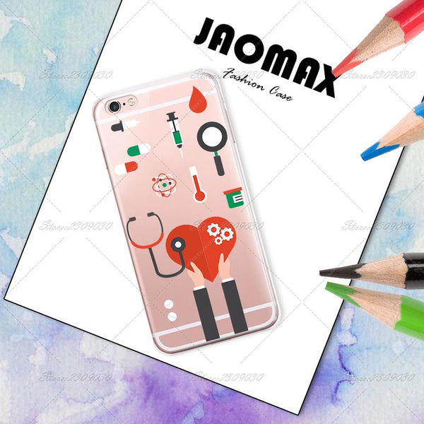 Cute Cartoon Medicine Doctor Case For iPhone 7 7 Plus Transparent Silicone Phone Back Cover