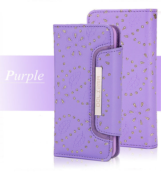 2 in 1 Maple Leaf Flower Detachable Luxury Card Slots Leather Wallet Cluth Case For iPhone 7 7 Plus