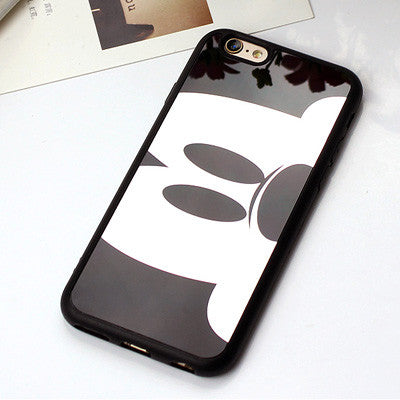 best cheap d5417 f34ae Cartoon Minnie Mickey Mouse Phone Case for iPhone 7 7 Plus Cover Soft  Silicone Mirror Cover