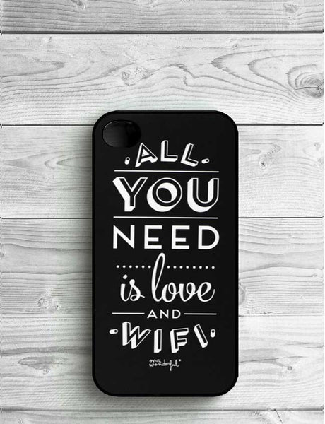 Mr Wonderful All You Need Is Love Wifi Hard Black Plastic Hardcover Cover Case For iPhone 7 7 Plus