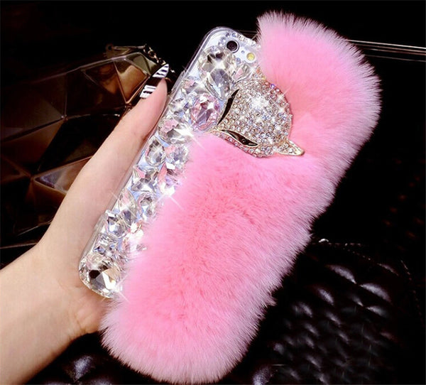 Rabbit Hair Fur Fox Head Bling Diamond Rhinestone TPU Case For iPhone 7 7 Plus Cover