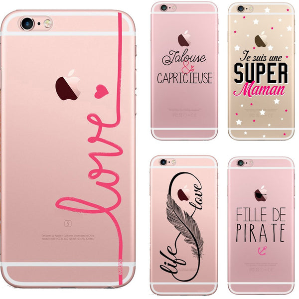 Interesting French Words Pirate Love Rose Life Soft Silicone Tpu Coque Cover For iPhone 7 7 Plus