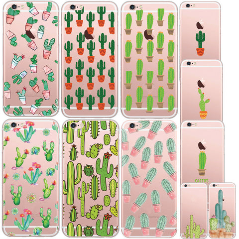 11 Styles Green Plants Desert Cactus Pattern Mobile Phone Case Cover For Apple iPhone 7 7 Plus
