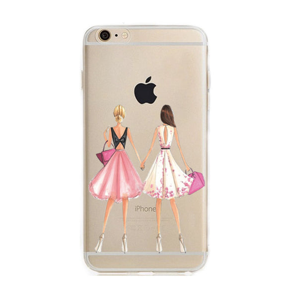 Fashionable Dress Shopping Girl Soft Case For iPhone 7 7 Plus Clear Silicone TPU Phone Case Shell
