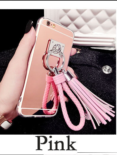 Luxury Silver Mirror Tassel Case Cover For iPhone 7 7 Plus
