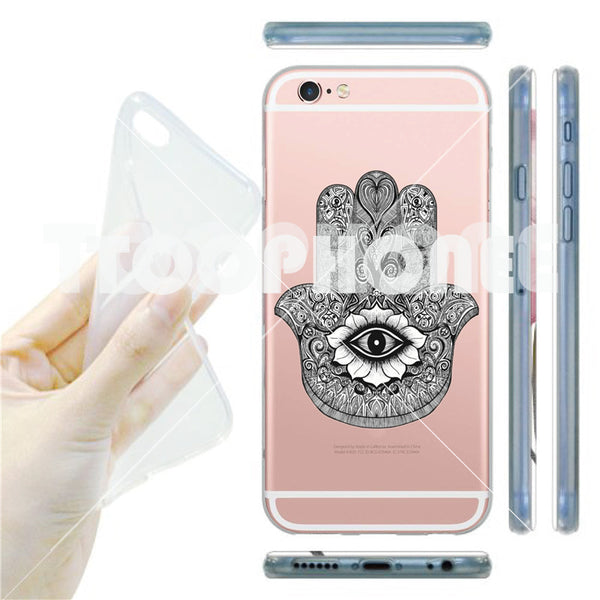 Traditional Muslim Culture Hamsa Hand Thin Soft Silicone Transparent Phone Case for iPhone 7 7 Plus