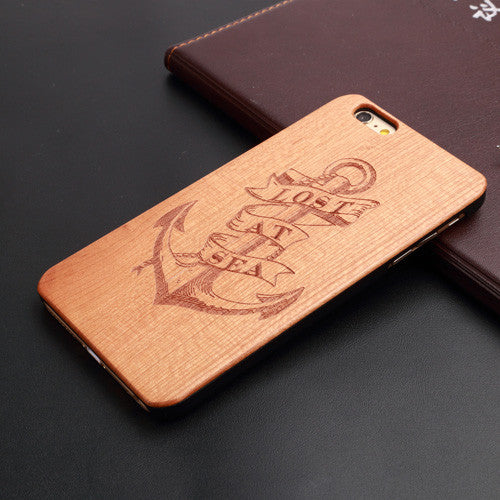 Cherry Wood Carving Hard Back Wooden Phone Case For iPhone 7 7 Plus Cover