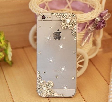 Bling Rhinestone Silver Flower Phone Case Cover for iPhone 7 7 Plus