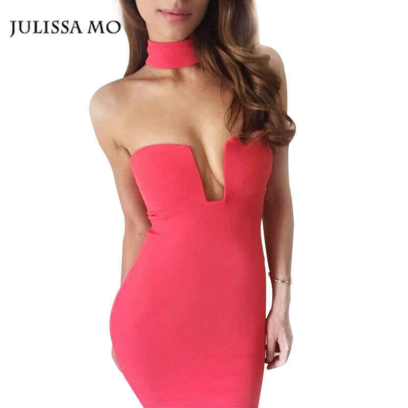 2bf7d16c08 Women Party Summer Backless White   Black Low Cut Sexy Night Club Dresses  Bodycon Bandage Dress ...