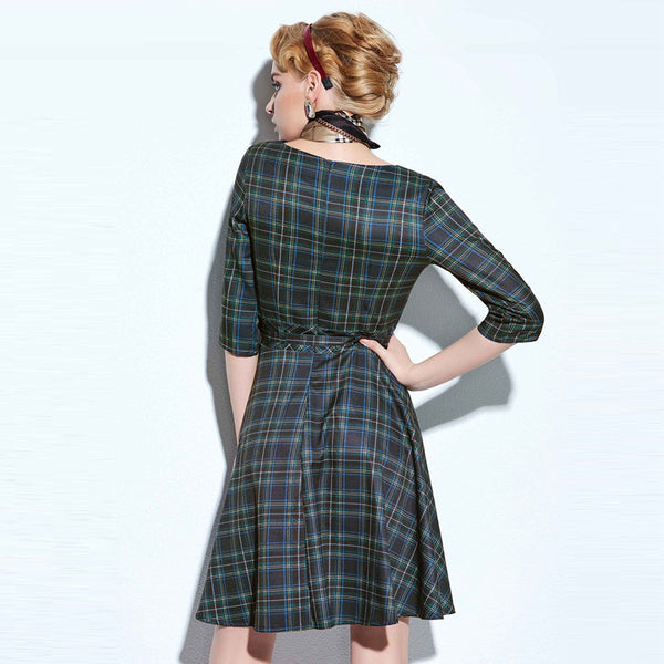 Casual Elegant Vintage Plaid Christmas Dress Women's Clothing Style Winter Party Dresses