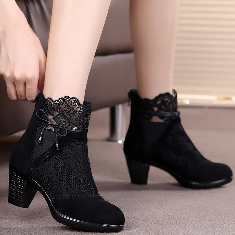 Genuine Leather Spring Autumn Martin Boots Medium Hells for Women